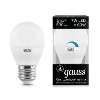Лампа Gauss LED Шар-dim E27 7W 590lm 4100К диммируемая (105102207-D)